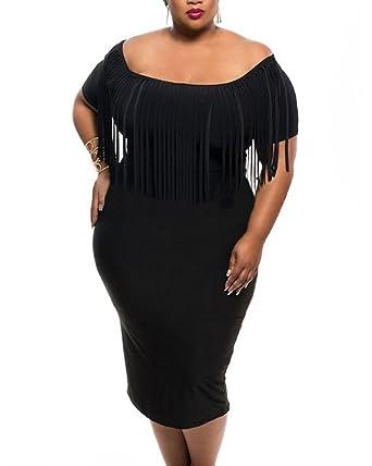 Gloriasarah Womens Fringe Top Tassel Bodycon Plus Size Off