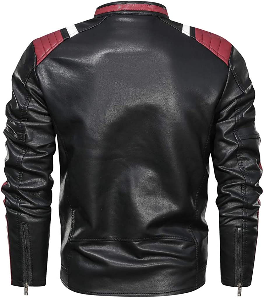AILMY Mens Waterproof Jackets Vintage Loose Stripe Zipper Stand Collar Solid Imitation Leather Coat
