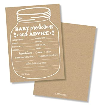 Amazon Com 50 Mason Jar Advice And Prediction Cards For Baby
