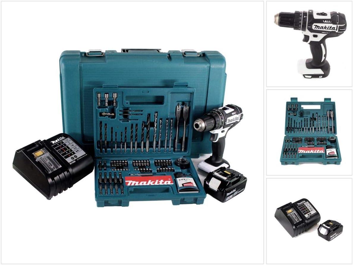 Makita DHP 482 STTK W - Taladro atornillador inalámbrico (18 V, batería de 5 Ah, cargador y 101 piezas) Set de accesorios.: Amazon.es: Bricolaje y herramientas