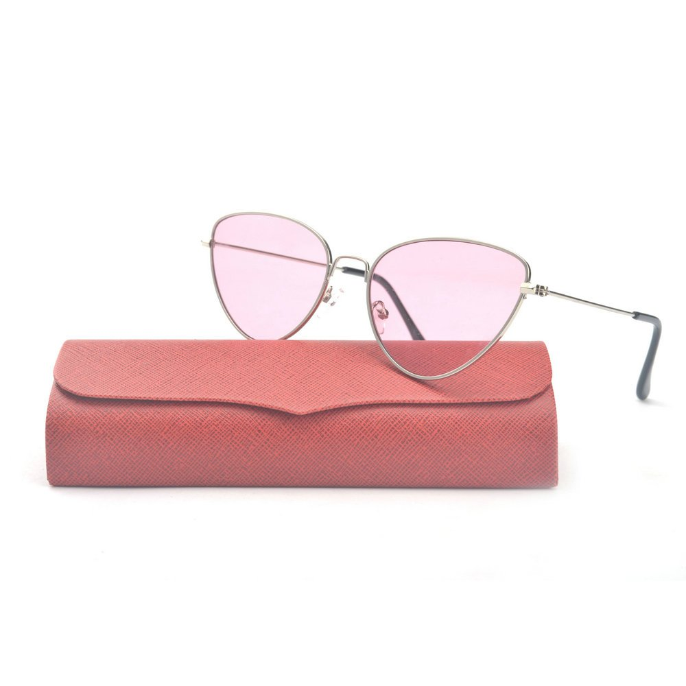 MINCL/Summer Fashion Vintage Cat Colorful Lens Sunglasses (gold-pink, gold-pink)