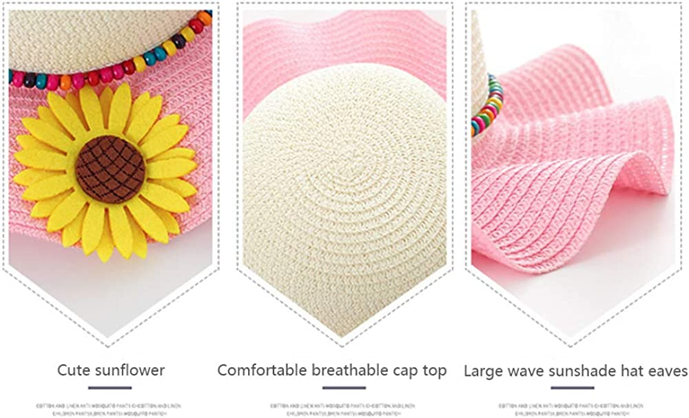 QTKJ Kids Anti-UV Sun Straw Hat Wide Brim Sunflower Beach Hat with Multi-Colors Beads Decorative Summer Cap for Girls Boys Pink/&Beige