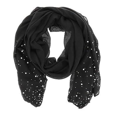 69f13bb698f95 moonbow Foulard Noir Perles et Strass - Foulard Femme - Echarpe ...