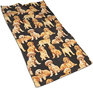Black Golden Retriever Dog Puppy Kitchen Towels ¨C 17.5X27.5in Microfiber Terry Dish Towels for Drying Dishes and Blotting Spills ¨CDish Towels for Your Kitchen Decor