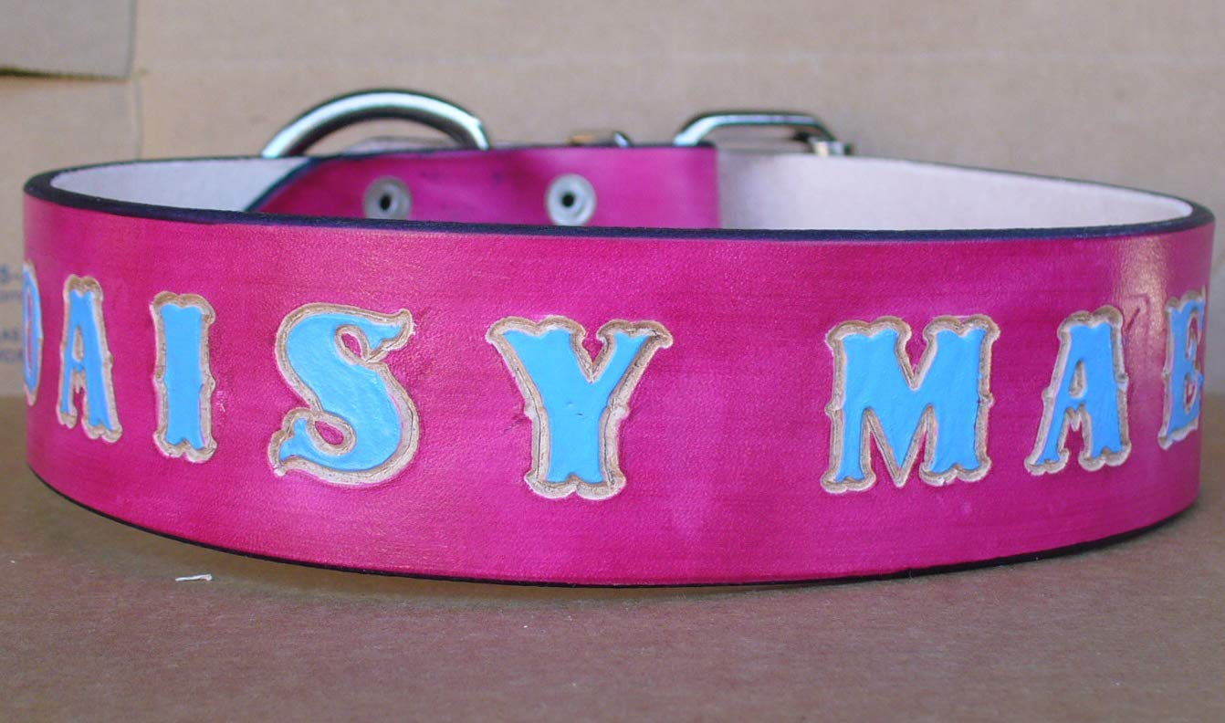 Pink Leather Dog Collars for Large Dogs Custom made Dog Collars Pink Dog Collar 2 inch wide Made in USA by Pitka Leather