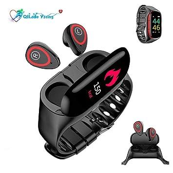 Rastreador de ejercicios 2 en 1 con audífonos Bluetooth, reloj ...