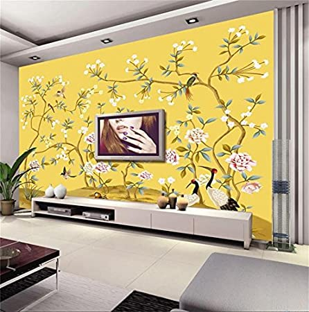 weaeo 3d wallpaper custom photo non woven mural hand painted flowers3d wallpaper custom photo non woven mural hand painted flowers birds 3d wall murals wallpaper for wall room decoration painting 280x200cm amazon co uk