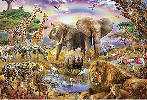 1000 Pieces Puzzles For Adults Wooden Jigsaw Puzzles African Animals Floor Puzzle Kids Intellectual Game Learning Education Decompression Toys