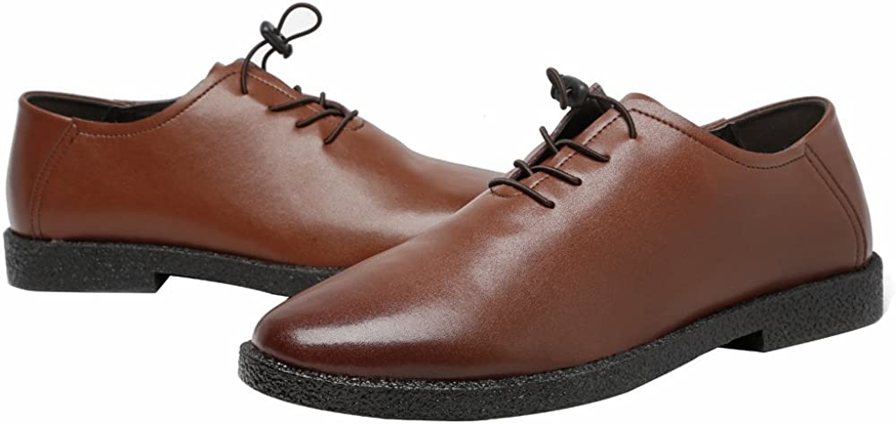 Color : Brown, Size : 7.5MUS MUMUWU Mens Low Top Shoes Casual Matte Genuine Leather Loafers Lace Up Breathable Shoes