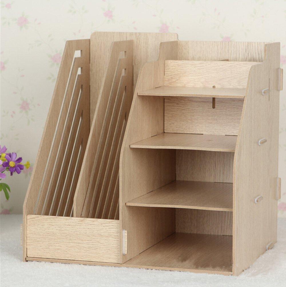 Hensych® - Organizer in legno da scrivania, 2 portadocumenti rimovibili/portariviste e 4 ripiani Original HSYC Tech WD-DESTP-SHEV-ORI