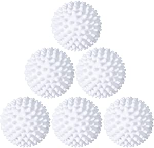 6 Pieces Laundry Drying Balls, Reusable Dryer Balls, Replace Laundry Drying Fabric Softener and Saves, Reusable Washing Machine Dryer Cleaning Soften Clothes Wash Ball (White)