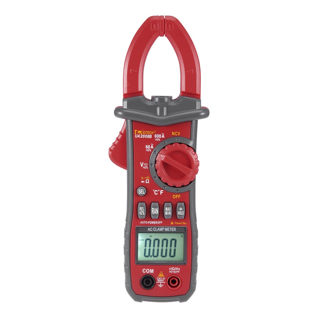 UA2008B 600A AC Clamp Meter Multimeter Testing AC Current,AC/DC Voltage,Resistance,Capacitance,Temperature,Frequency with Clamp Flashlight