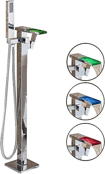 SUGU Grifo mezclador para ba/ñera y ducha con LED en cascada con cabezal de ducha de mano .