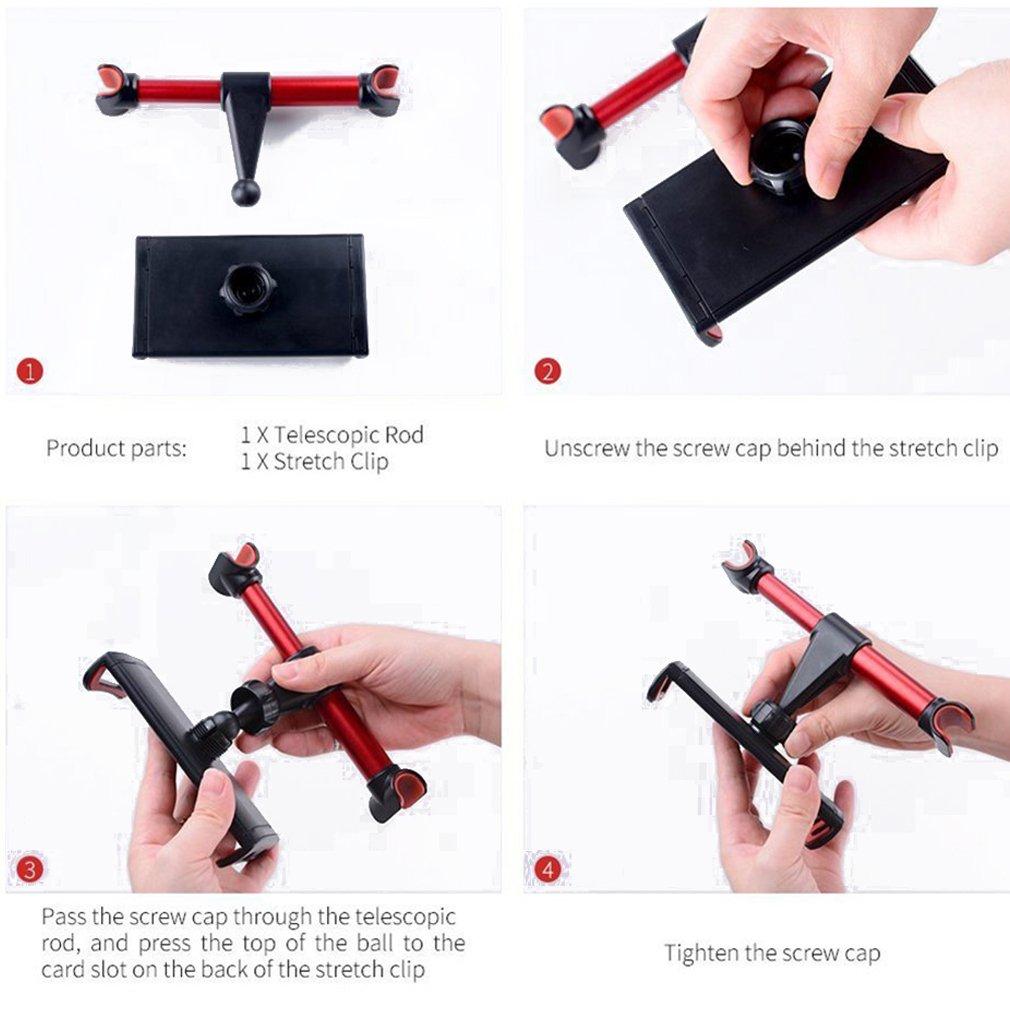 11 Pulgadas Tablet ect Car-Rear Pillow-A16G11 FIRST2SAVVV Universal para reposacabezas de Coche para Asiento Trasero Soporte Extensible Rotaci/ón de 360 Grados para iPhone X 8 iPad y 4