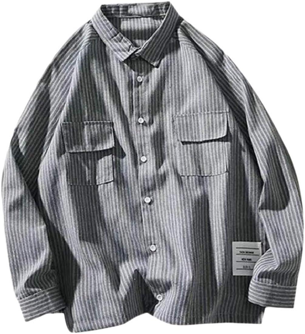 YUNY Mens Vintage Casual Stripes Button Long Sleeve Soft T-Shirts Black XL