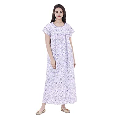 c57f44b6f3 Amazon.com  Women Cotton Floral Printed Night Wear Gown Sexy ...