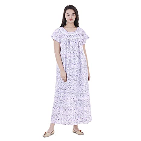 Amazon.com  Women Cotton Floral Printed Night Wear Gown Sexy Nighties Nighty  Sleepwear Indian Dress Long Skirt Maxi Bath Robe Nightdress  Clothing 359504804