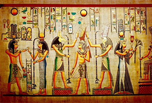 LFEEY 7x5ft Old Egypt Papyrus Backdrop Coloring Ancient Egyptian Parchment Vintage Wall Painting Antique Hieroglyphs Photography Background Cloth Vinyl Photo Studio Props ()