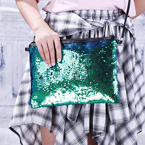 Outdoor Tote Handbag Sequins Purse Color Solid Green Blue Bag Shoulder Ladies Fashion qz6twgxp