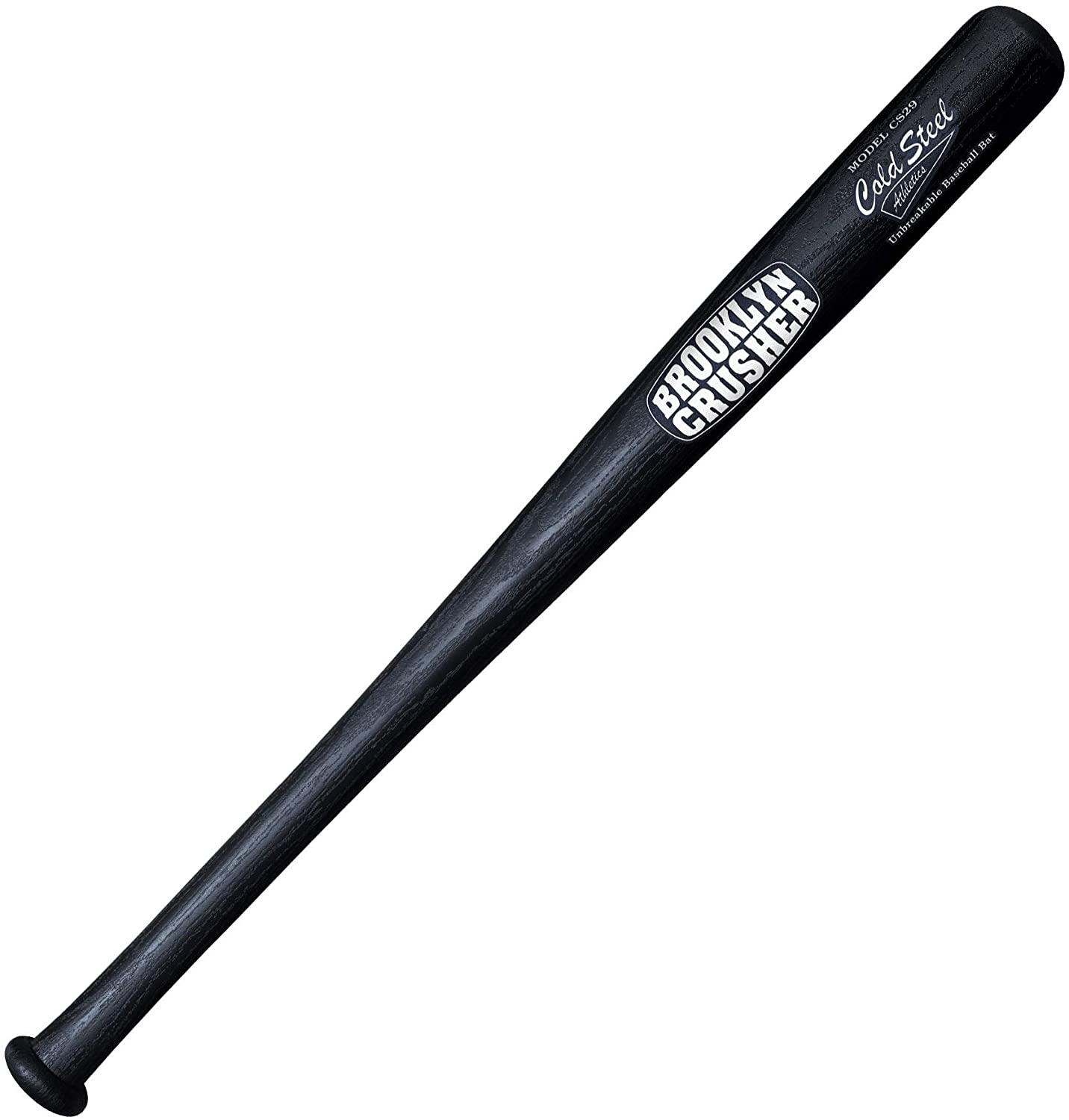 "Image of a black baseball bat with words ""Brooklyn Crusher"" printed on it."