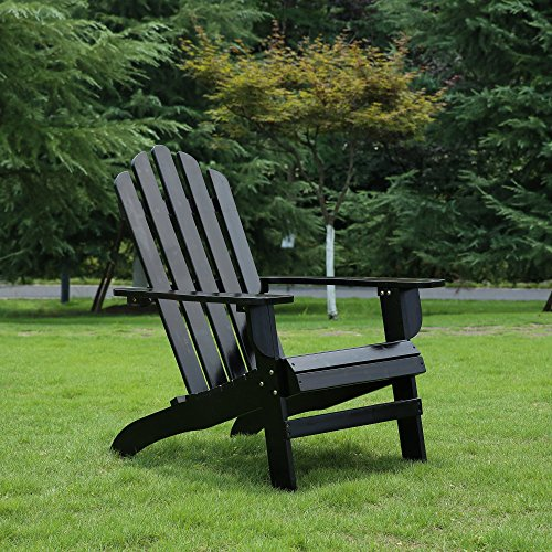Azbro Outdoor Wooden Fashion Adirondack chair/Muskoka Chairs Patio Deck Garden (Adirondack Deck Chair)