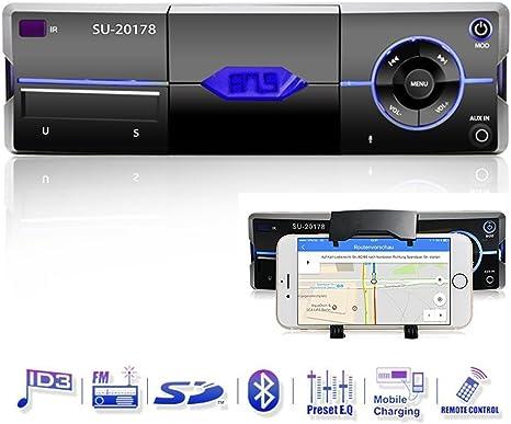 Bluetooth Radio de coche con soporte de smartphone, manos libres, micrófono incorporado, USB Conector para MP3, iPhone, iPad, iPod, Android, AD2P, AUX Conector, SD & MMC lector de tarjeta, soporte de radio