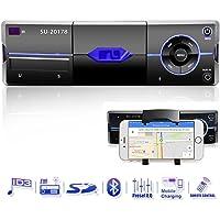 Bluetooth Autoradio mit Smartphone-Halter, Freisprecheinrichtung, eingebautes Mikrofon, USB Anschluss für MP3, iPhone, Android, AUX Anschluss, SD & MMC Kartenleser, UKW/FM Radio, Audio Receiver