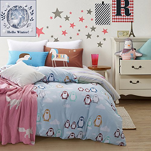 BuLuTu Cotton Penguin Print Pattern Bedding Sets Twin Blue For Boys Girls Premium Reversible Boys Duvet Cover Set Zipper Closure(1 Duvet Cover + 2 Pillowcases)
