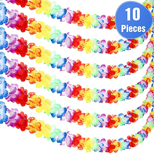 (Jovitec Multicolor Tropical Flower Lei Garland Flower Leaves Banner for Hawaiian Luau Decorations (Style B, 10 Pack))
