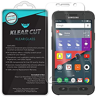 Galaxy S7 Active Screen Protector, Klear Cut KlearGlass Ballistic Tempered Glass Screen Protector for Galaxy S7 Active HD Clear 9H Hardness Anti-Bubble Shield - Lifetime Warranty