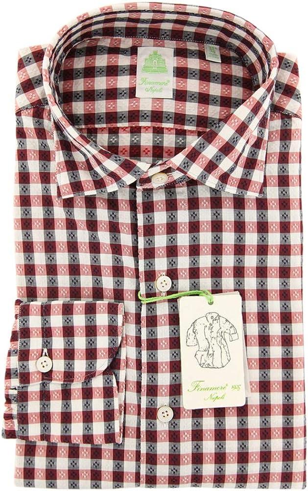 Finamore Napoli Plaid Button Down Spread Collar Linen Slim Fit Dress Shirt