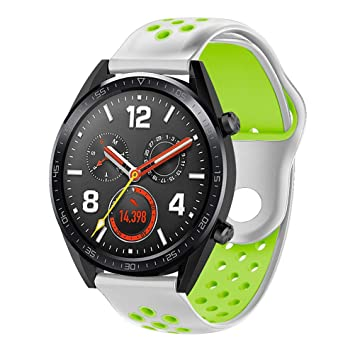 Kokymaker Silicona Correas para Smartwatch Huawei Watch GT Ajustable de Acero Inoxidable 22mm Correa para Huawei Watch GT Reloj