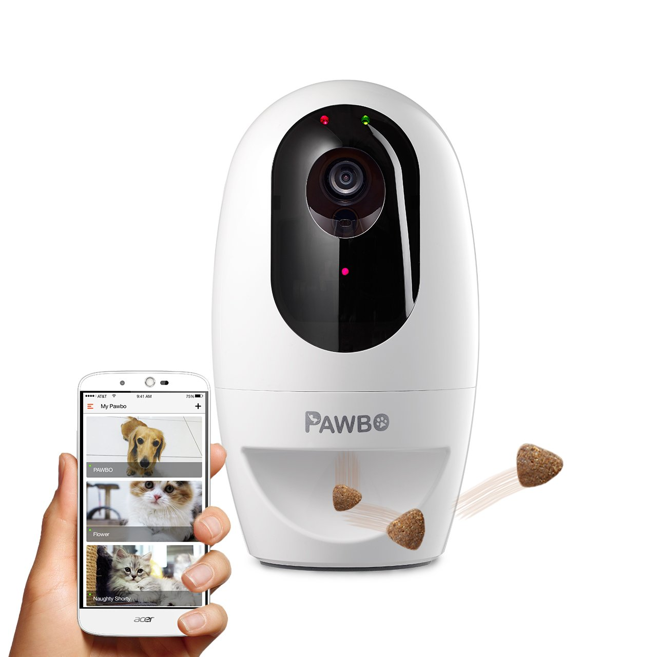 Pawbo Life Wi-Fi Pet Camera: 720p HD Video, 2-Way Audio, Video Recording, Treat Dispenser, and Laser Game PPC-21CL