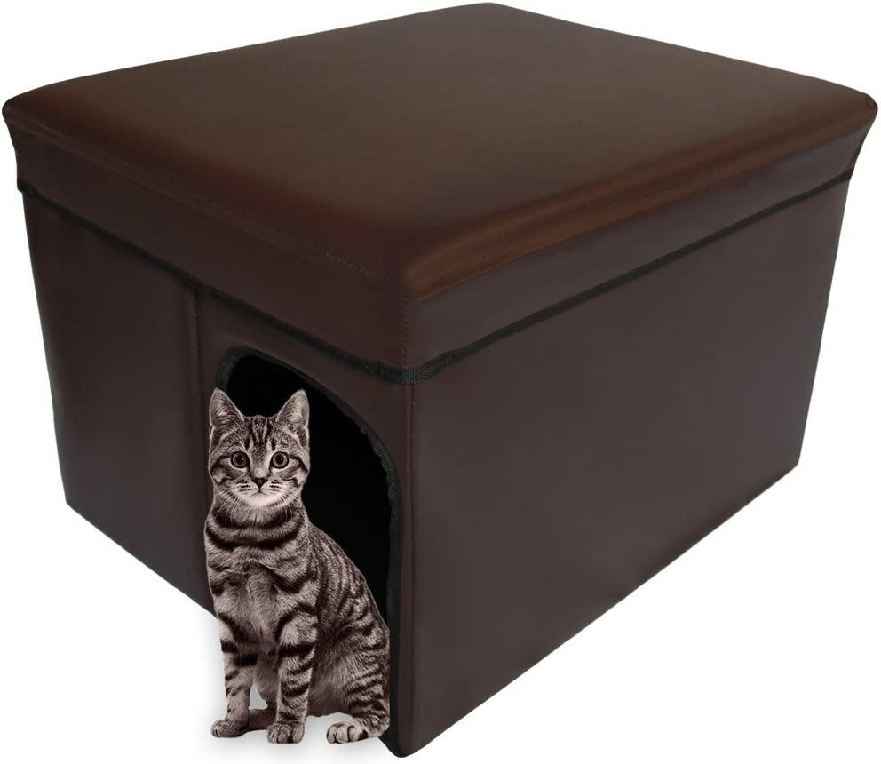 Mable Ruth Ottoman Pet House Hidden Litter Box Enclosure & Pet Bed Friendly. Get it at Amazon.