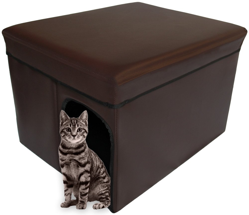 Mable Ruth Ottoman Pet House Hidden Litter Box Enclosure & Pet Bed Friendly - Enclosed Leather Litter Box Furniture for Cats & Dogs - Large (Dark Brown Expresso) by Mable Ruth