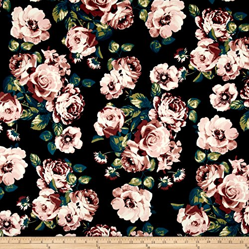 Rose Type Blush (Fabric Merchants Techno Scuba Knit Roses Blush/Black Yard)
