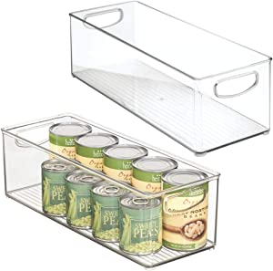 "mDesign X-Long Plastic Kitchen Pantry, Cabinet, Refrigerator, Freezer Food Storage Organizing Bin Basket with Handles - Organizer for Fruit, Vegetables, Yogurt, Snacks, Pasta - 6"" Wide, 2 Pack - Clear"