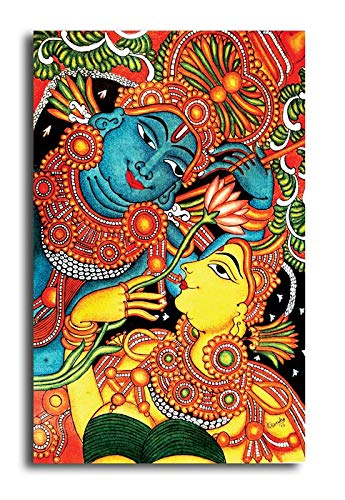 Pixelartz Canvas Painting Kerala Mural Painting Radha Krishna