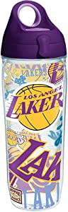 Tervis NBA Los Angeles Lakers All Over Tumbler with Wrap and Purple Lid 24oz Water Bottle, Clear