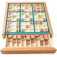 Andoer Placa de quebra-cabeça de sudoku de madeira Conjunto de jogos de sudoku de madeira com gaveta Math Brain Teaser…