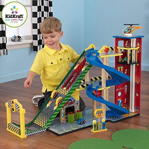 Most Popular Highest Rated Fun New Kids Toddlers Children's Play Activity Center With Car Wash, Ramps, Helicopters Racing Autos and More Wood Construction Best Seller Ramp Race Parking Garage