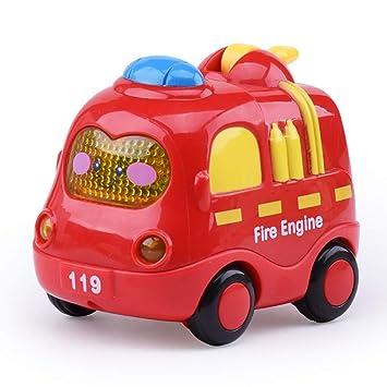 Ouken 1pc Cute Dessin Animé Bébé Voiture Jouet Son Et Légère Inertie Musique Petite Voiture Jouet Camion De Pompiers