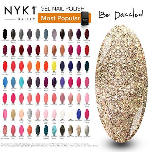 Glitter Gold Gel Nail Polish - (Be Dazzled) Diamond UV LED Gel Polish Varnish Colour by NYK1 Nailac Gel Lamp Curing Gel Nail Art Spring Christmas Colour