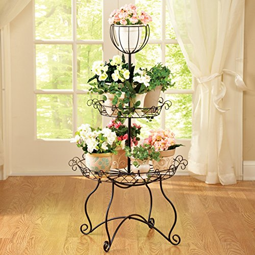 elegant scrollwork 3 tier metal multi use organizer rack indoor outdoor plant stand buy online. Black Bedroom Furniture Sets. Home Design Ideas