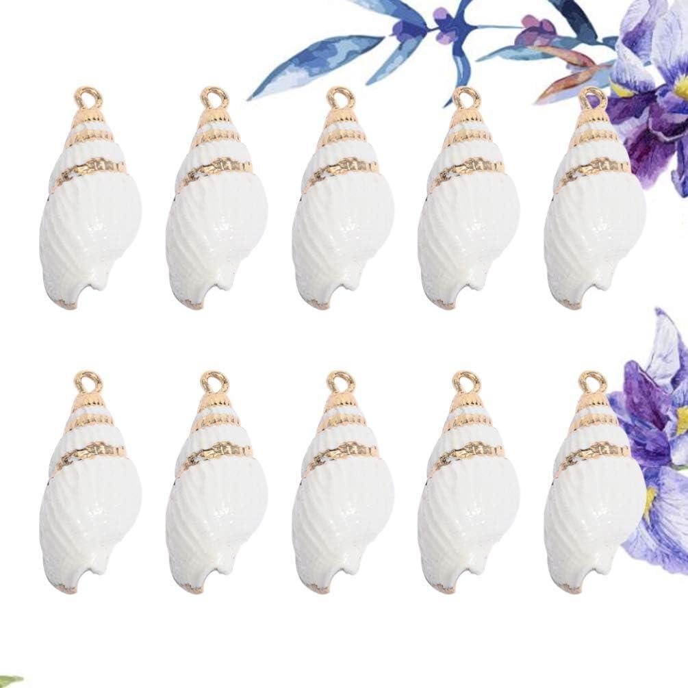caf/é SUPVOX 10pcs Pendentif Naturel conque charmes Ornements de conques charmes Nautiques Bijoux Bricolage Fabrication Accessoire pour Collier Bracelet