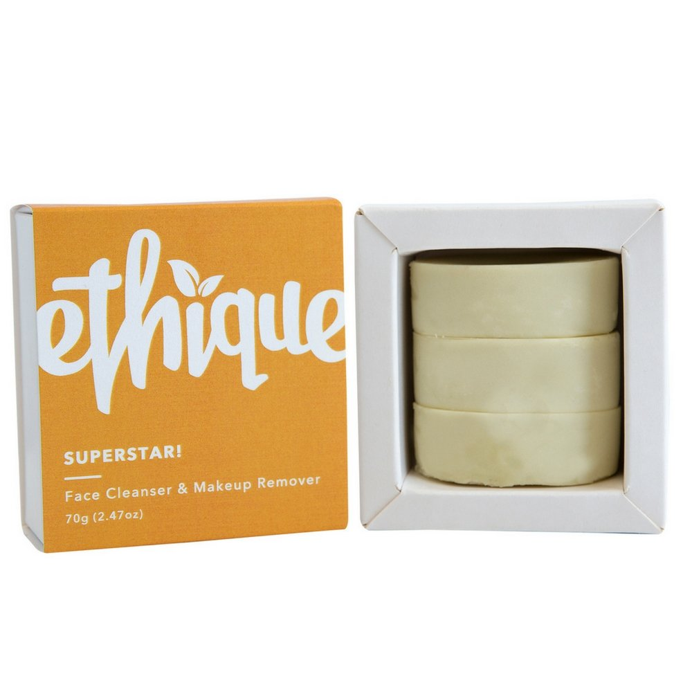 Ethique Eco-Friendly Face Cleanser & Makeup Remover, SuperStar! Multi-purpose Facial Cleansing Bar, Sustainable, Natural, Plastic Free, Vegan, Plant Based, 100% Compostable and Zero Waste, 2.47oz by Ethique