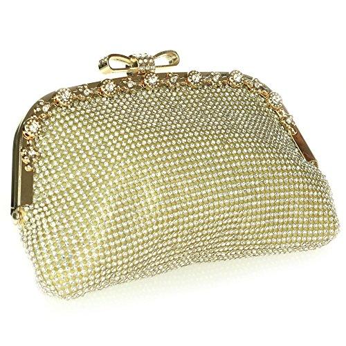 Mujer Señoras Cristal Manija superior Noche Boda Nupcial Fiesta Paseo Diamante Bolsa de mano Talla pequeña Bolso de embrague Oro