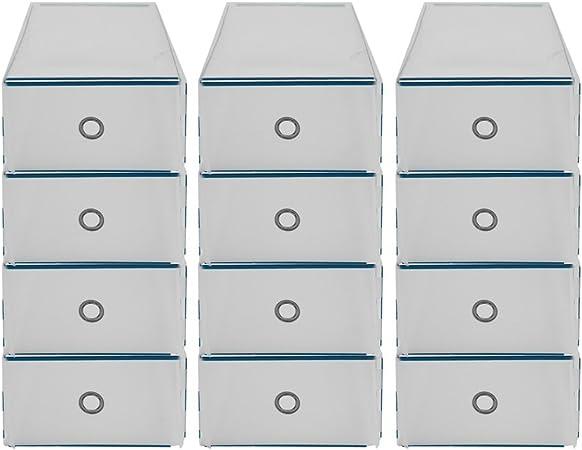Homgrace 12 Cajas para Zapatos Transparente Plástico, Caja Guardar Zapatos, Calcetines, Juguetes, Cinturones para la organización de su hogar, Oficina: Amazon.es: Juguetes y juegos