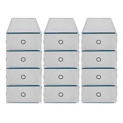 ICOCO 12 x Zapatos cartón apilable Caja de zapatos almacenamiento caja apilable Caja de zapatos estantes