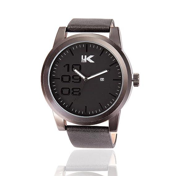 Yaki Hombre Relojes grandes números reloj de pulsera analógico de cuarzo reloj con fecha pulsera de